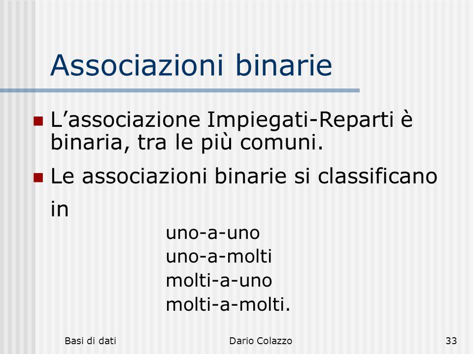 Basi di datiDario Colazzo33 Associazioni binarie L'associazione Impiegati-Reparti è binaria, tra le più comuni. Le associazioni binarie si classifican