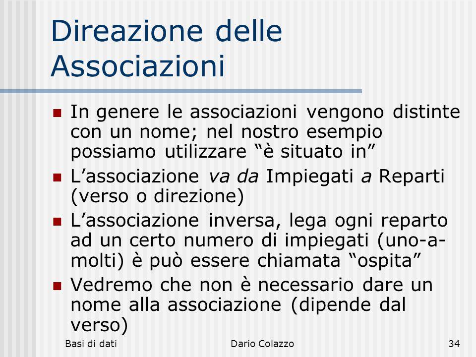 Basi di datiDario Colazzo34 Direazione delle Associazioni In genere le associazioni vengono distinte con un nome; nel nostro esempio possiamo utilizza