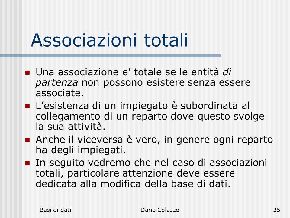 Basi di datiDario Colazzo35 Associazioni totali Una associazione e' totale se le entità di partenza non possono esistere senza essere associate. L'esi