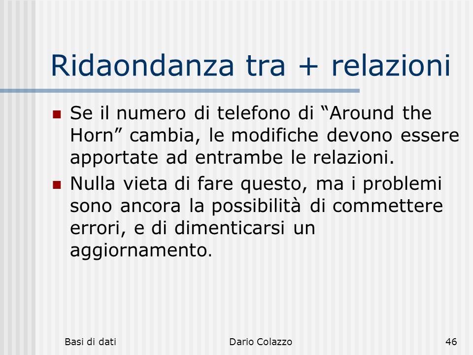 """Basi di datiDario Colazzo46 Ridaondanza tra + relazioni Se il numero di telefono di """"Around the Horn"""" cambia, le modifiche devono essere apportate ad"""