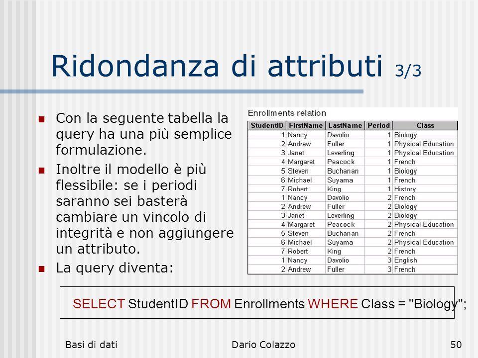 Basi di datiDario Colazzo50 Ridondanza di attributi 3/3 Con la seguente tabella la query ha una più semplice formulazione. Inoltre il modello è più fl