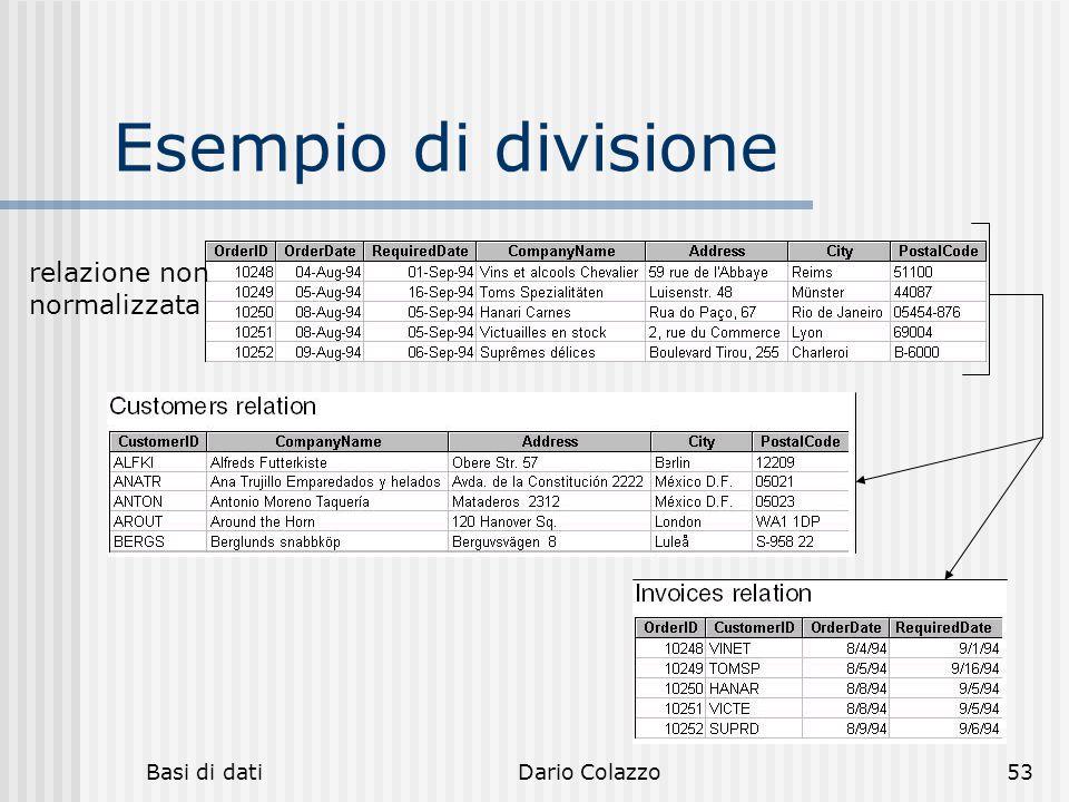 Basi di datiDario Colazzo53 Esempio di divisione relazione non normalizzata