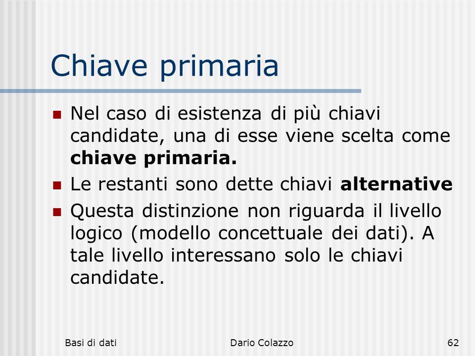 Basi di datiDario Colazzo62 Chiave primaria Nel caso di esistenza di più chiavi candidate, una di esse viene scelta come chiave primaria. Le restanti