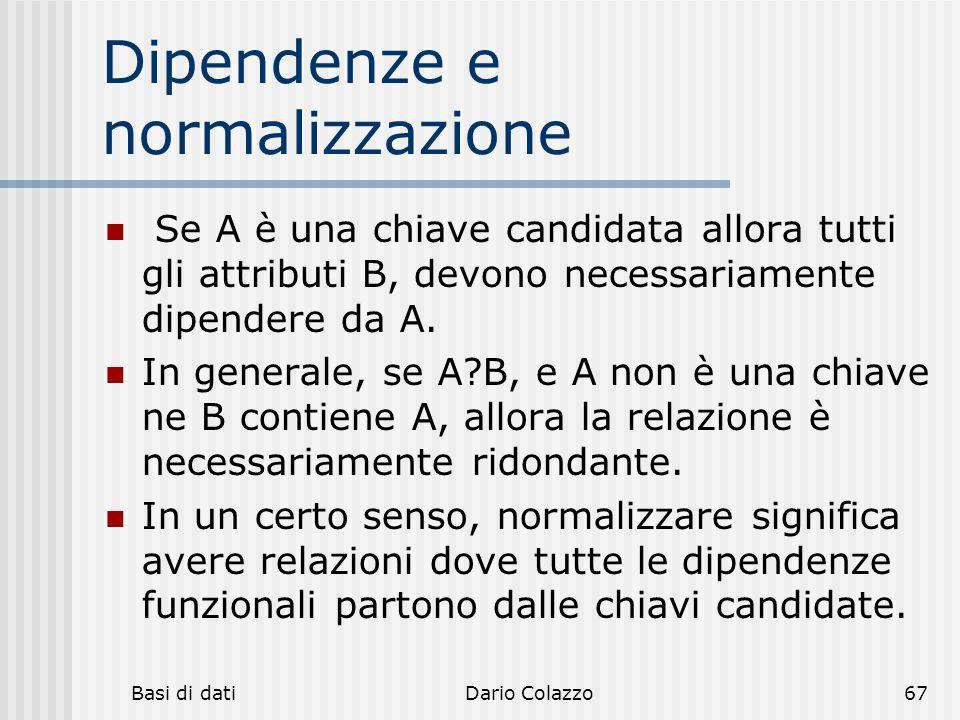 Basi di datiDario Colazzo67 Dipendenze e normalizzazione Se A è una chiave candidata allora tutti gli attributi B, devono necessariamente dipendere da