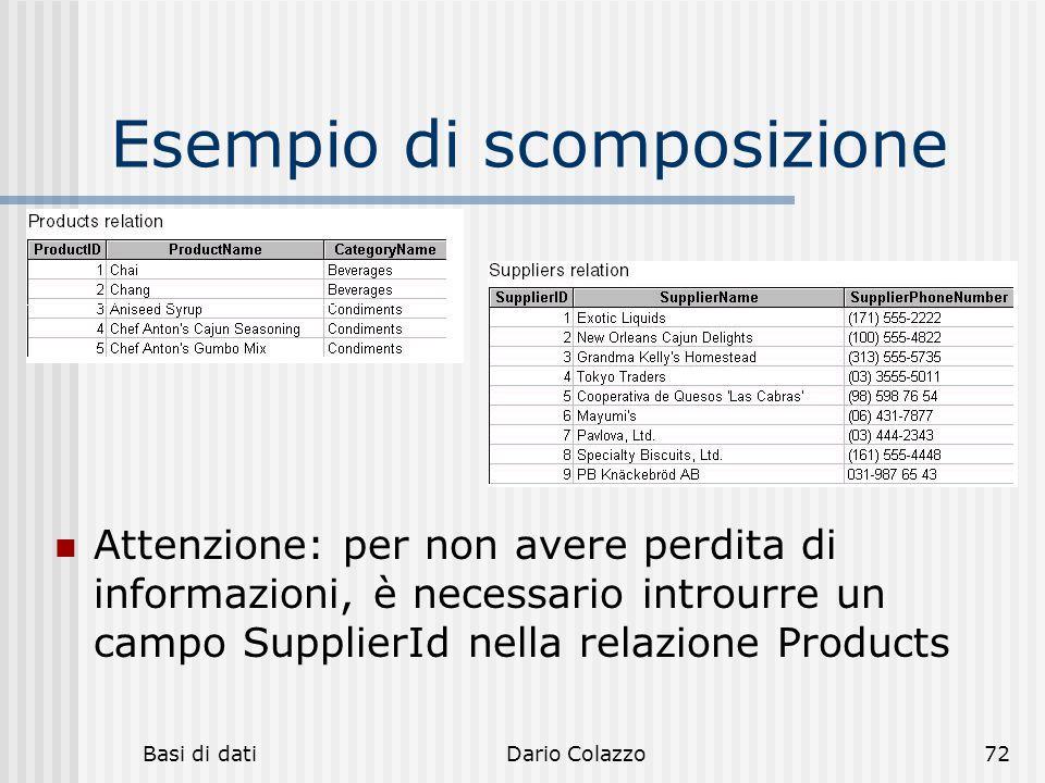 Basi di datiDario Colazzo72 Esempio di scomposizione Attenzione: per non avere perdita di informazioni, è necessario introurre un campo SupplierId nel