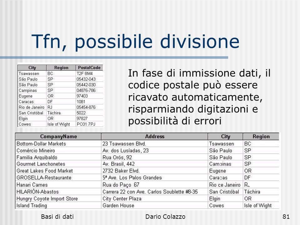 Basi di datiDario Colazzo81 Tfn, possibile divisione In fase di immissione dati, il codice postale può essere ricavato automaticamente, risparmiando d