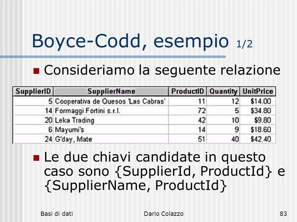 Basi di datiDario Colazzo83 Boyce-Codd, esempio 1/2 Consideriamo la seguente relazione Le due chiavi candidate in questo caso sono {SupplierId, Produc