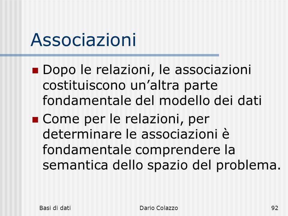 Basi di datiDario Colazzo92 Associazioni Dopo le relazioni, le associazioni costituiscono un'altra parte fondamentale del modello dei dati Come per le