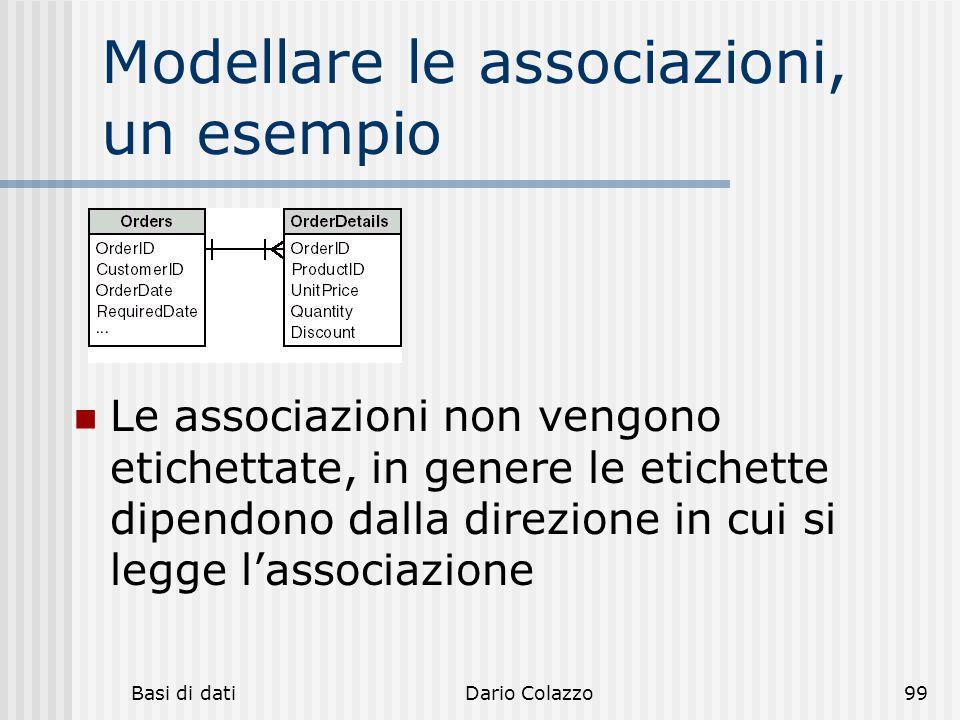 Basi di datiDario Colazzo99 Modellare le associazioni, un esempio Le associazioni non vengono etichettate, in genere le etichette dipendono dalla dire