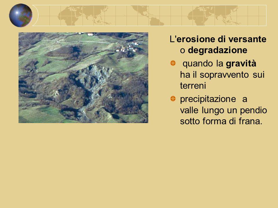 L'erosione di versante o degradazione quando la gravità ha il sopravvento sui terreni precipitazione a valle lungo un pendio sotto forma di frana.