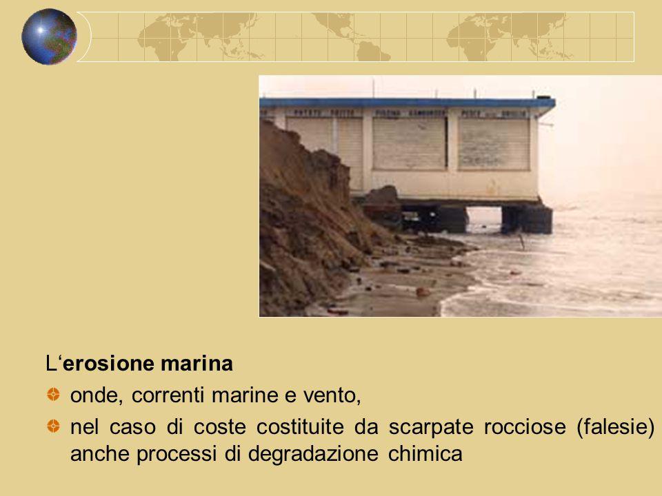 L'erosione marina onde, correnti marine e vento, nel caso di coste costituite da scarpate rocciose (falesie) anche processi di degradazione chimica