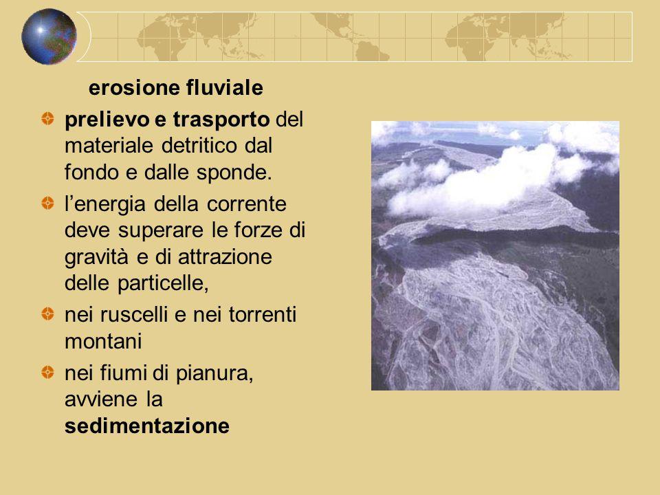 erosione fluviale prelievo e trasporto del materiale detritico dal fondo e dalle sponde. l'energia della corrente deve superare le forze di gravità e