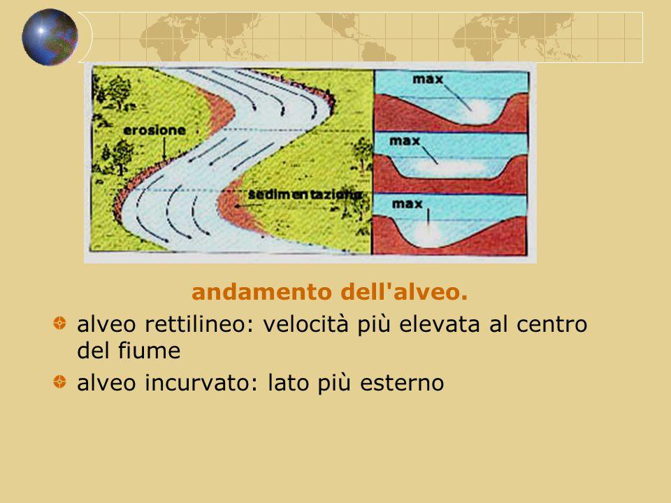andamento dell'alveo. alveo rettilineo: velocità più elevata al centro del fiume alveo incurvato: lato più esterno