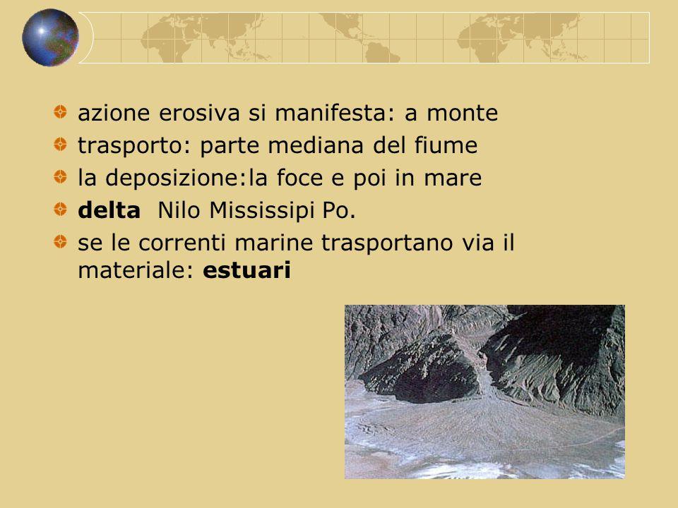 azione erosiva si manifesta: a monte trasporto: parte mediana del fiume la deposizione:la foce e poi in mare delta Nilo Mississipi Po. se le correnti