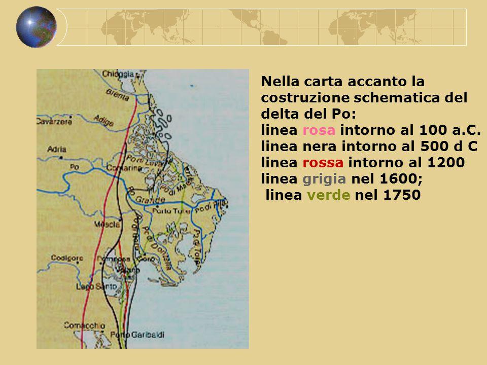 Nella carta accanto la costruzione schematica del delta del Po: linea rosa intorno al 100 a.C. linea nera intorno al 500 d C linea rossa intorno al 12
