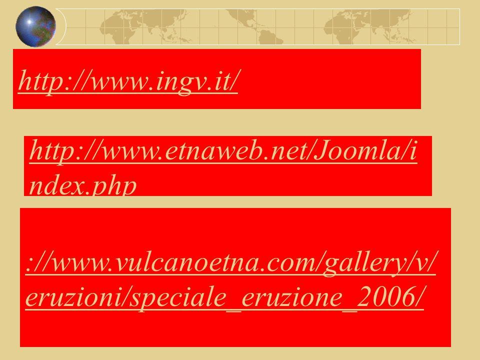 http://www.ingv.it/ http://www.etnaweb.net/Joomla/i ndex.php ://www.vulcanoetna.com/gallery/v/ eruzioni/speciale_eruzione_2006/