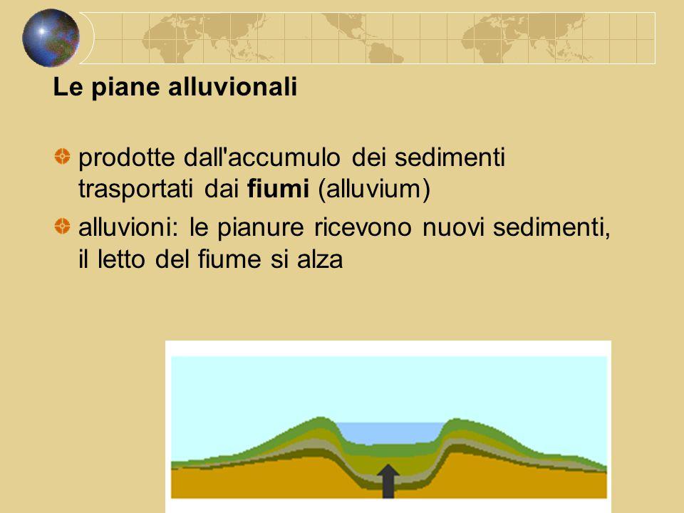 Le piane alluvionali prodotte dall'accumulo dei sedimenti trasportati dai fiumi (alluvium) alluvioni: le pianure ricevono nuovi sedimenti, il letto de