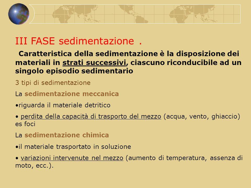III FASE sedimentazione. Caratteristica della sedimentazione è la disposizione dei materiali in strati successivi, ciascuno riconducibile ad un singol