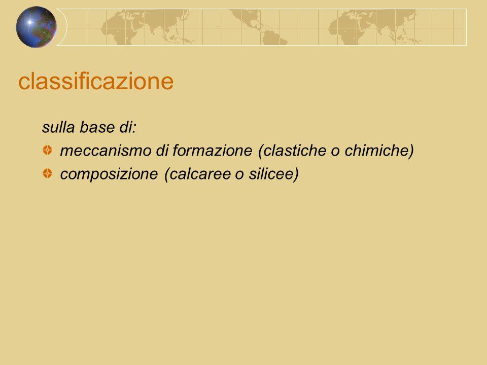 classificazione sulla base di: meccanismo di formazione (clastiche o chimiche) composizione (calcaree o silicee)