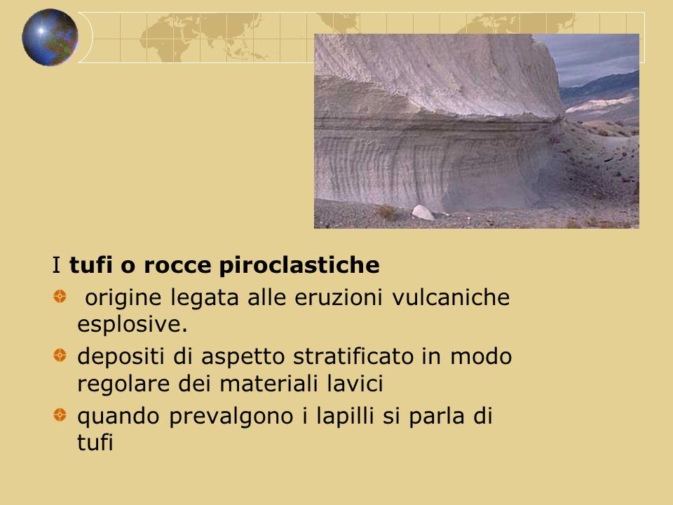 I tufi o rocce piroclastiche origine legata alle eruzioni vulcaniche esplosive. depositi di aspetto stratificato in modo regolare dei materiali lavici