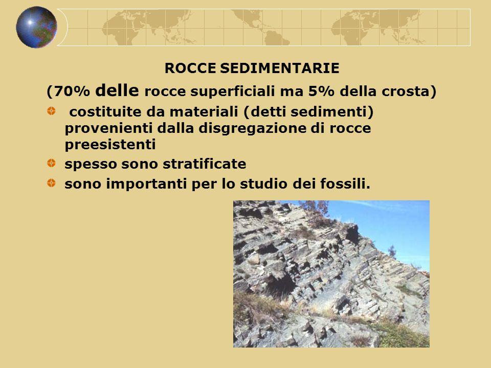 ROCCE SEDIMENTARIE (70% delle rocce superficiali ma 5% della crosta) costituite da materiali (detti sedimenti) provenienti dalla disgregazione di rocc