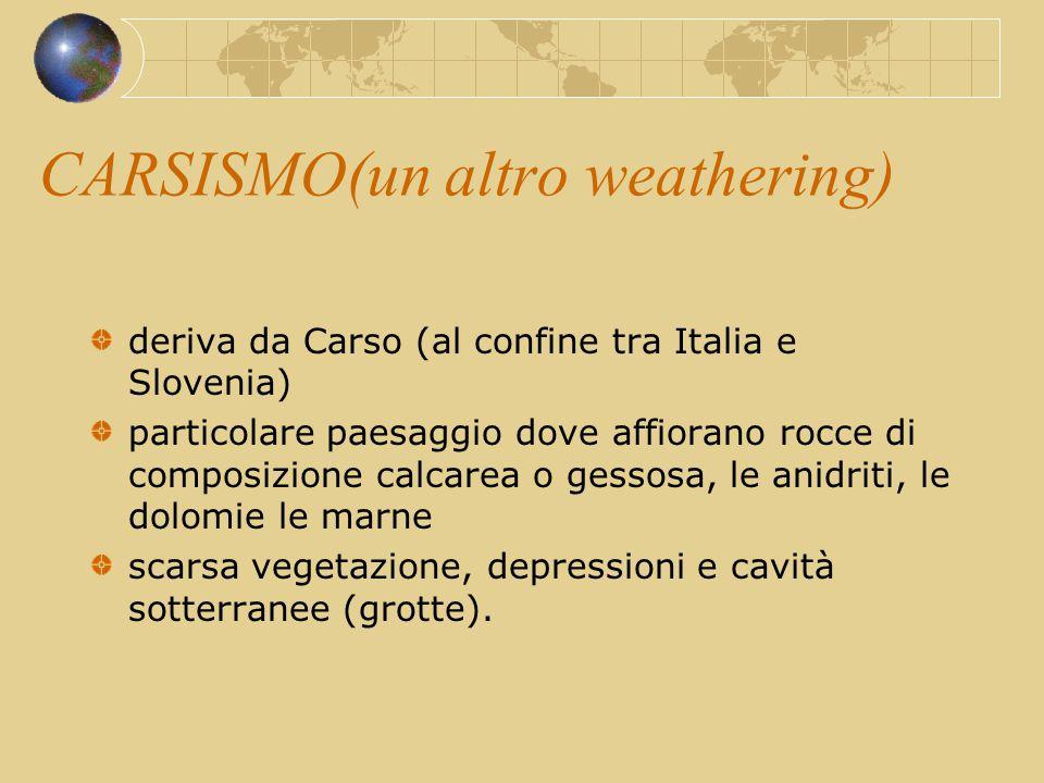 CARSISMO(un altro weathering) deriva da Carso (al confine tra Italia e Slovenia) particolare paesaggio dove affiorano rocce di composizione calcarea o