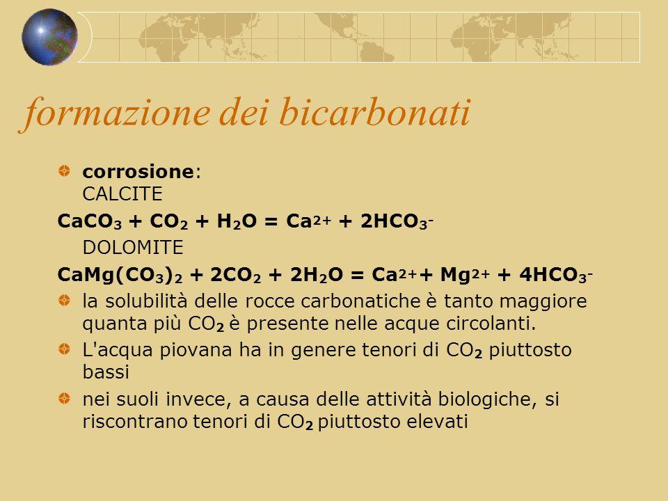 formazione dei bicarbonati corrosione: CALCITE CaCO 3 + CO 2 + H 2 O = Ca 2+ + 2HCO 3 - DOLOMITE CaMg(CO 3 ) 2 + 2CO 2 + 2H 2 O = Ca 2+ + Mg 2+ + 4HCO