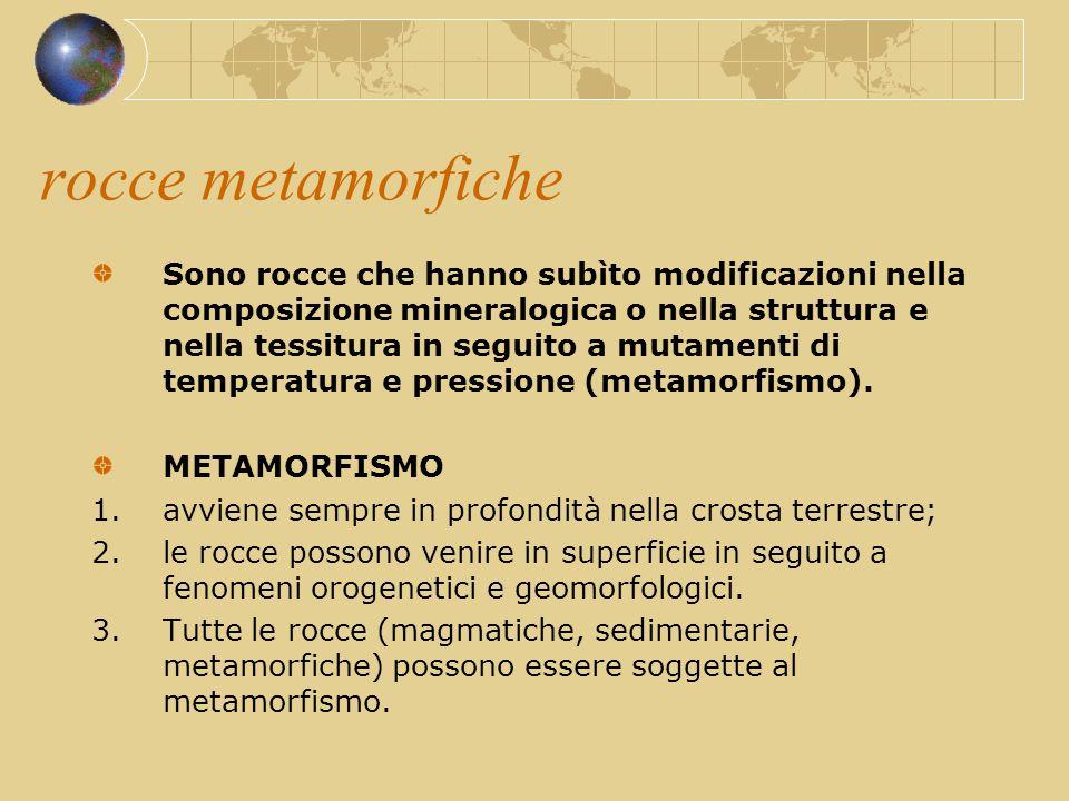 rocce metamorfiche Sono rocce che hanno subìto modificazioni nella composizione mineralogica o nella struttura e nella tessitura in seguito a mutament