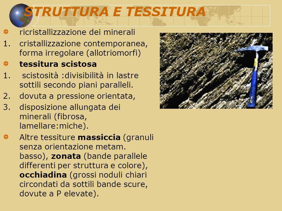 STRUTTURA E TESSITURA ricristallizzazione dei minerali 1.cristallizzazione contemporanea, forma irregolare (allotriomorfi) tessitura scistosa 1. scist