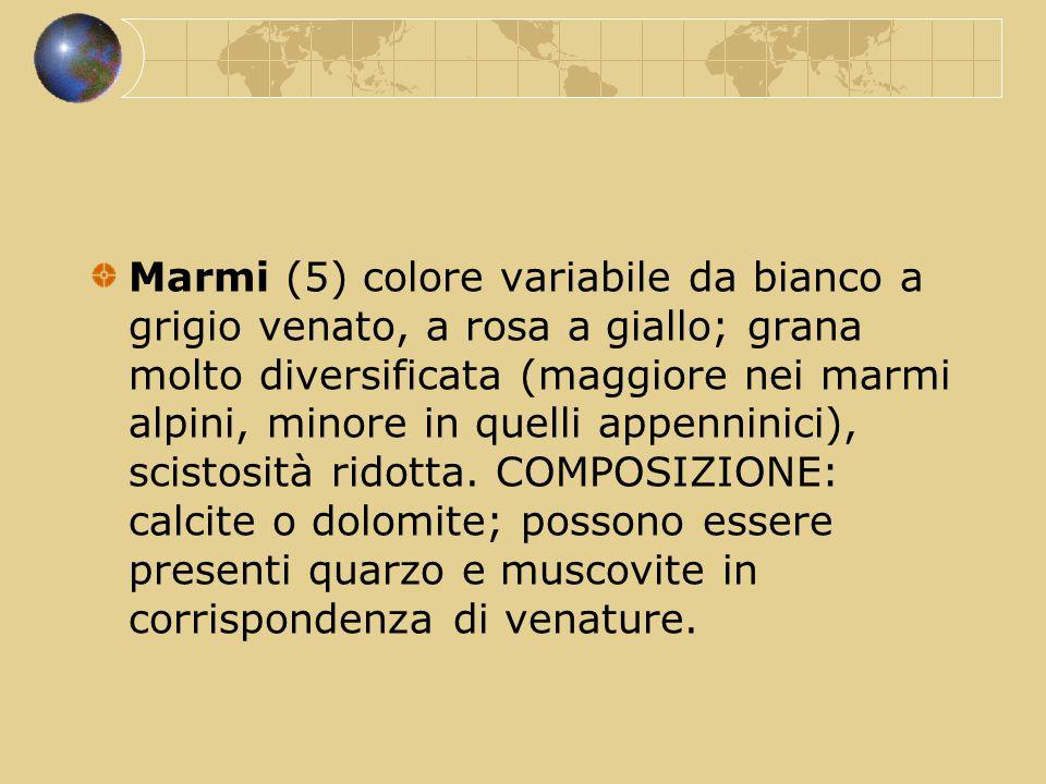 Marmi (5) colore variabile da bianco a grigio venato, a rosa a giallo; grana molto diversificata (maggiore nei marmi alpini, minore in quelli appennin