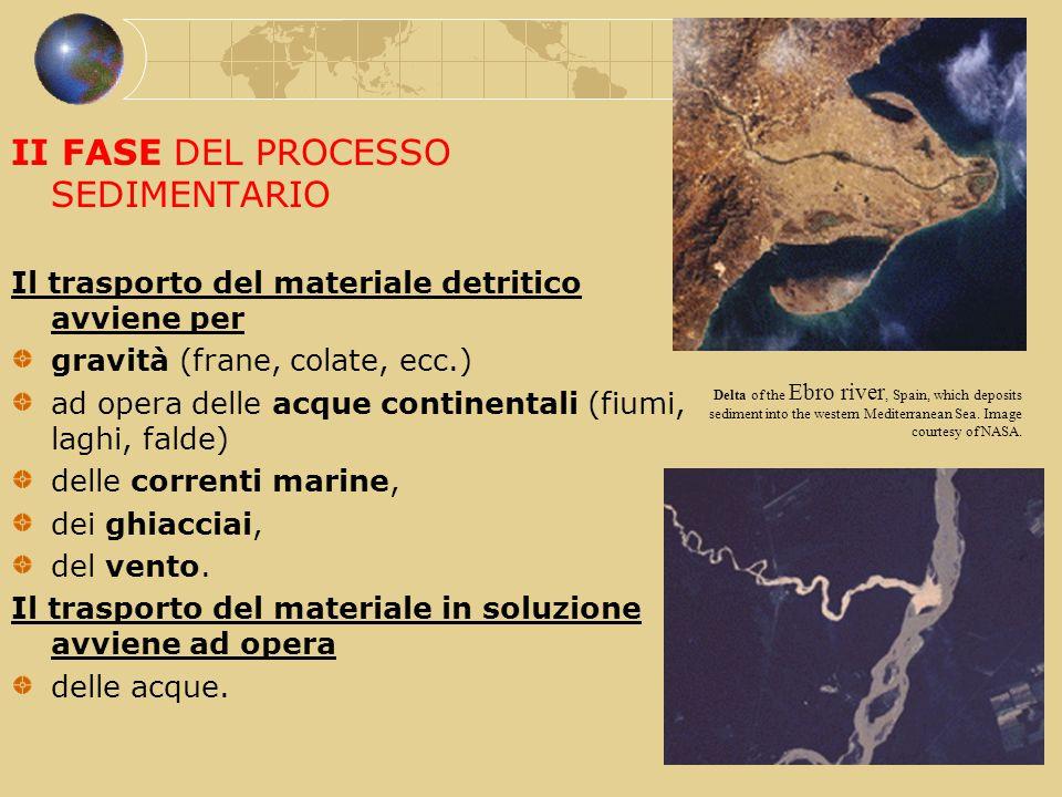 II FASE DEL PROCESSO SEDIMENTARIO Il trasporto del materiale detritico avviene per gravità (frane, colate, ecc.) ad opera delle acque continentali (fi