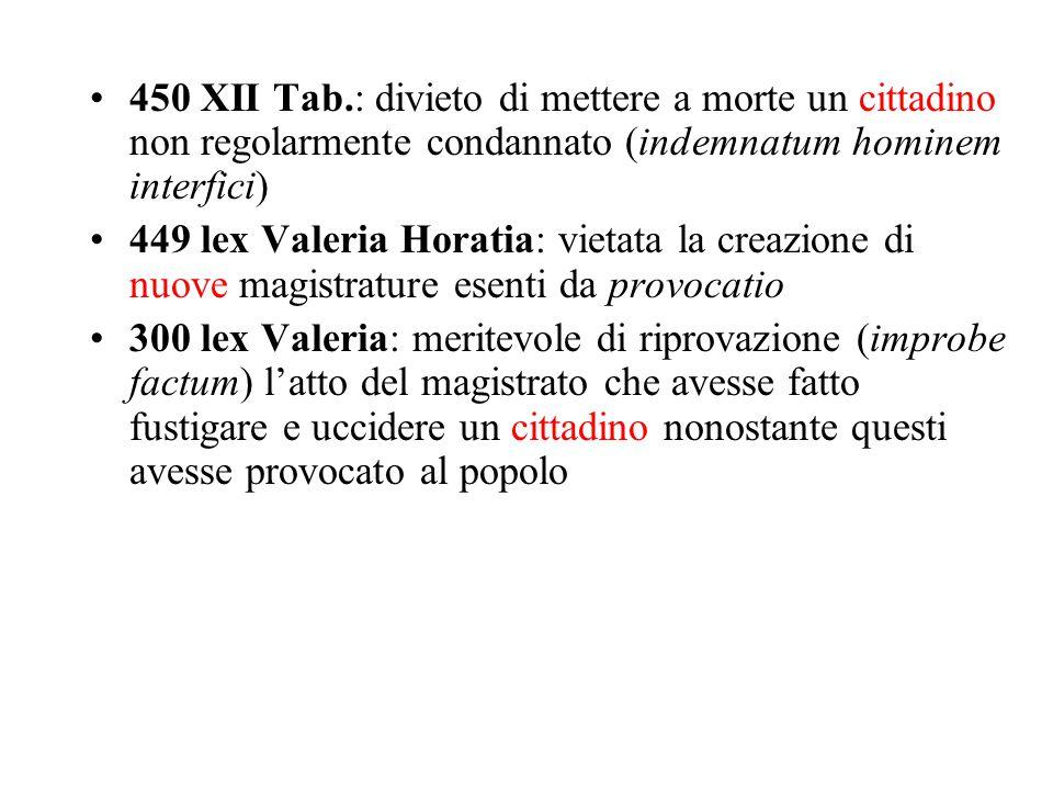 450 XII Tab.: divieto di mettere a morte un cittadino non regolarmente condannato (indemnatum hominem interfici) 449 lex Valeria Horatia: vietata la c
