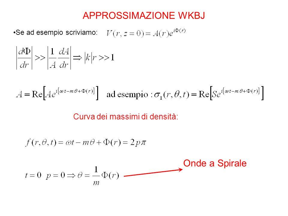 APPROSSIMAZIONE WKBJ Se ad esempio scriviamo: Curva dei massimi di densità: Onde a Spirale