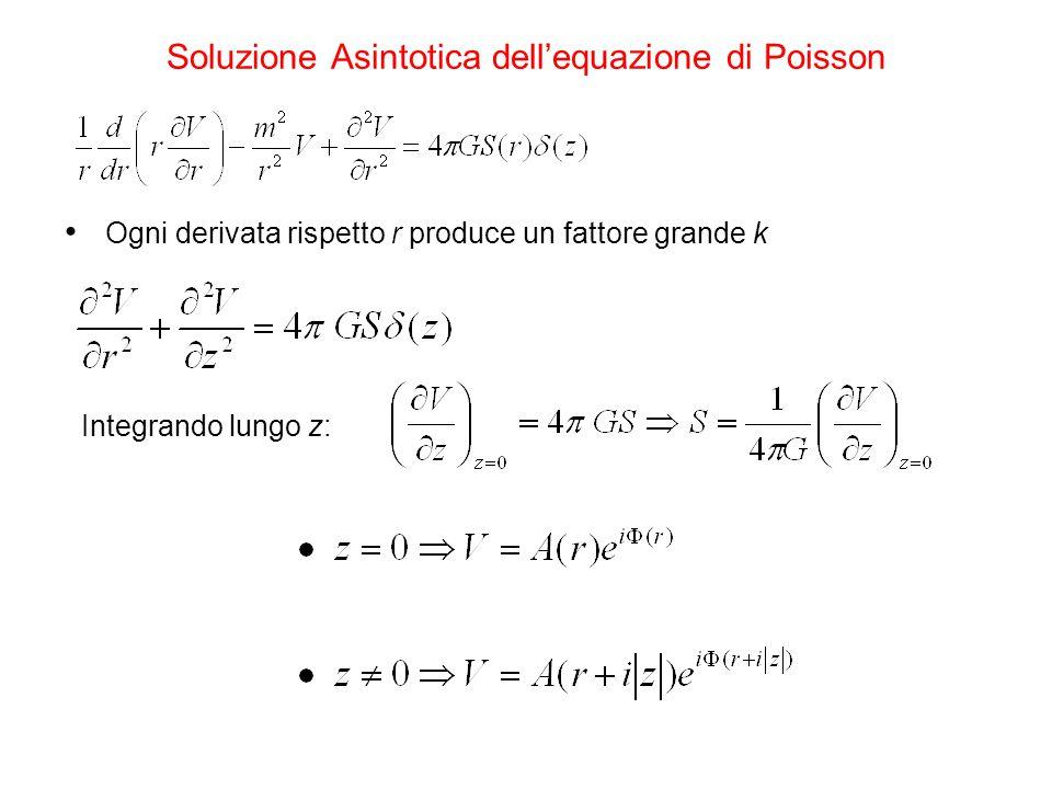Soluzione Asintotica dell'equazione di Poisson Ogni derivata rispetto r produce un fattore grande k Integrando lungo z: