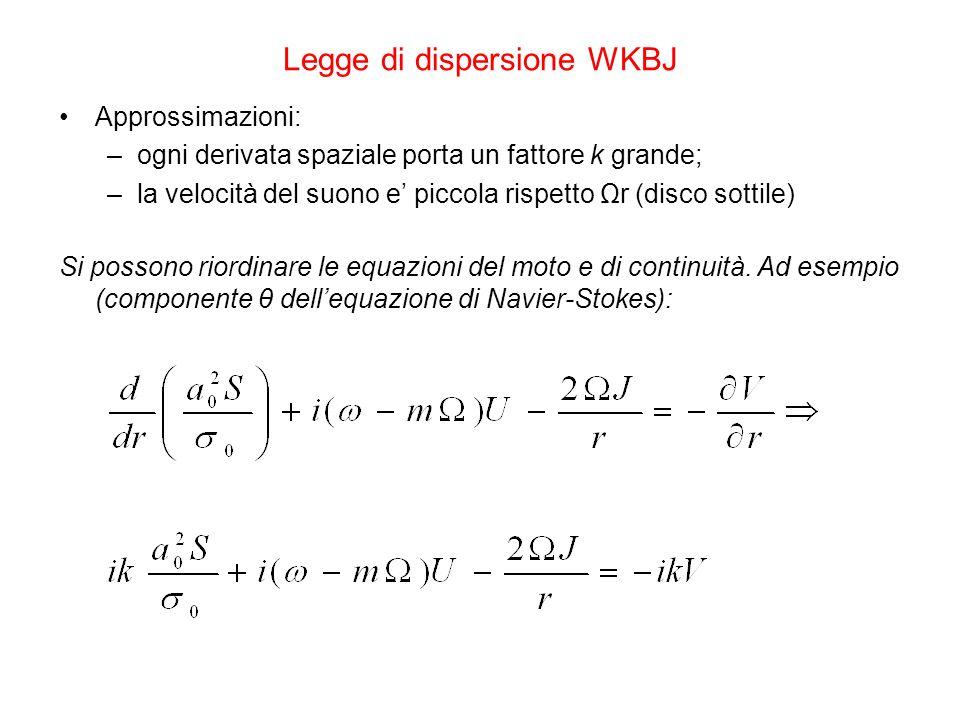 Legge di dispersione WKBJ Approssimazioni: –ogni derivata spaziale porta un fattore k grande; –la velocità del suono e' piccola rispetto Ωr (disco sottile) Si possono riordinare le equazioni del moto e di continuità.
