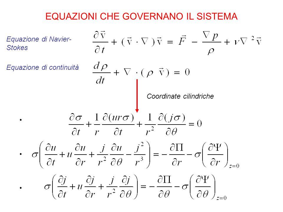 EQUAZIONI CHE GOVERNANO IL SISTEMA Equazione di Navier- Stokes Equazione di continuità Coordinate cilindriche