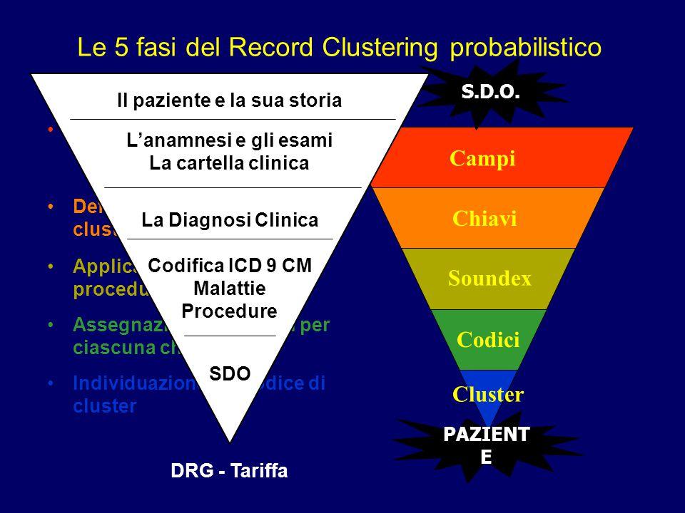 Le 5 fasi del Record Clustering probabilistico Campi Chiavi Soundex Codici Cluster Selezione dei campi su cui clusterizzare Definizione delle chiavi d