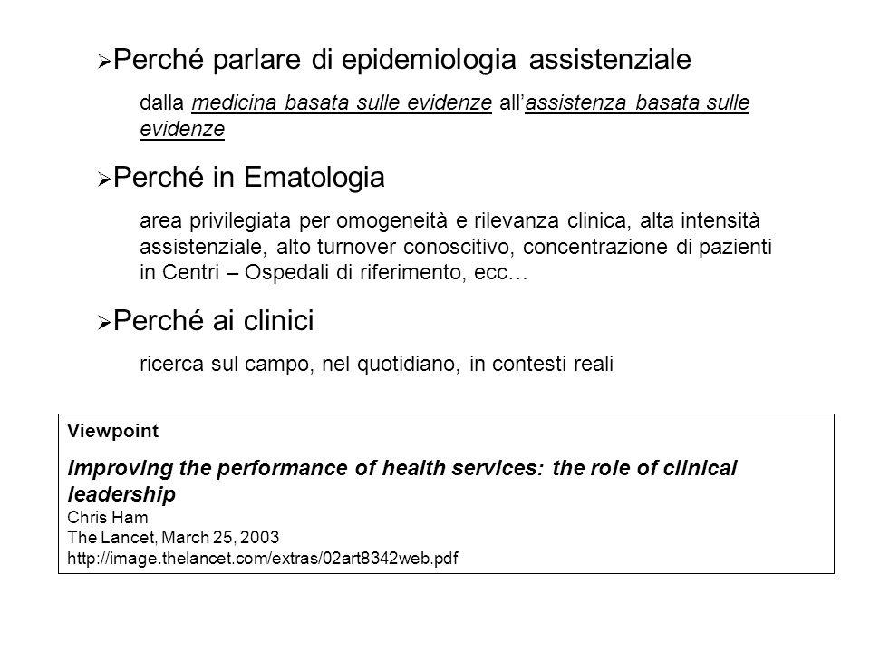  Perché parlare di epidemiologia assistenziale dalla medicina basata sulle evidenze all'assistenza basata sulle evidenze  Perché in Ematologia area
