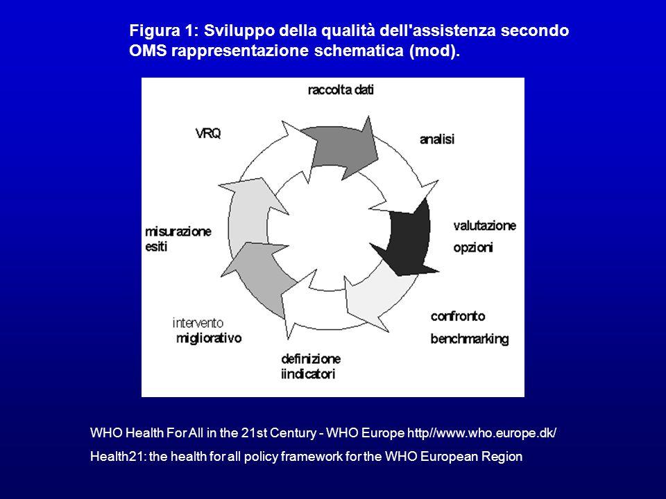Figura 1: Sviluppo della qualità dell'assistenza secondo OMS rappresentazione schematica (mod). WHO Health For All in the 21st Century - WHO Europe ht