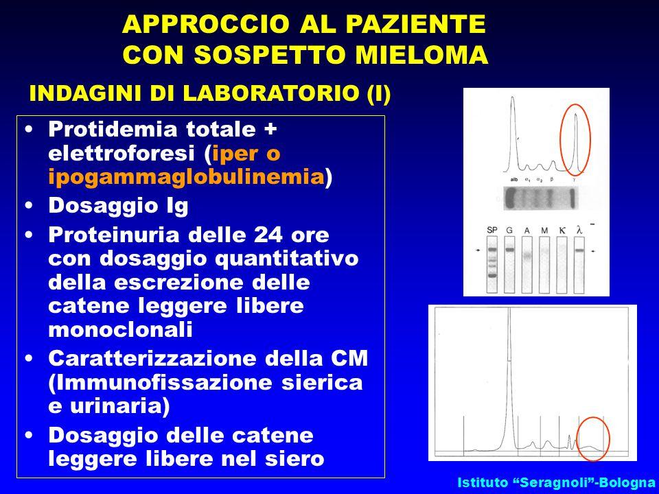 """Istituto """"Seragnoli""""-Bologna APPROCCIO AL PAZIENTE CON SOSPETTO MIELOMA INDAGINI DI LABORATORIO (I) Protidemia totale + elettroforesi (iper o ipogamma"""