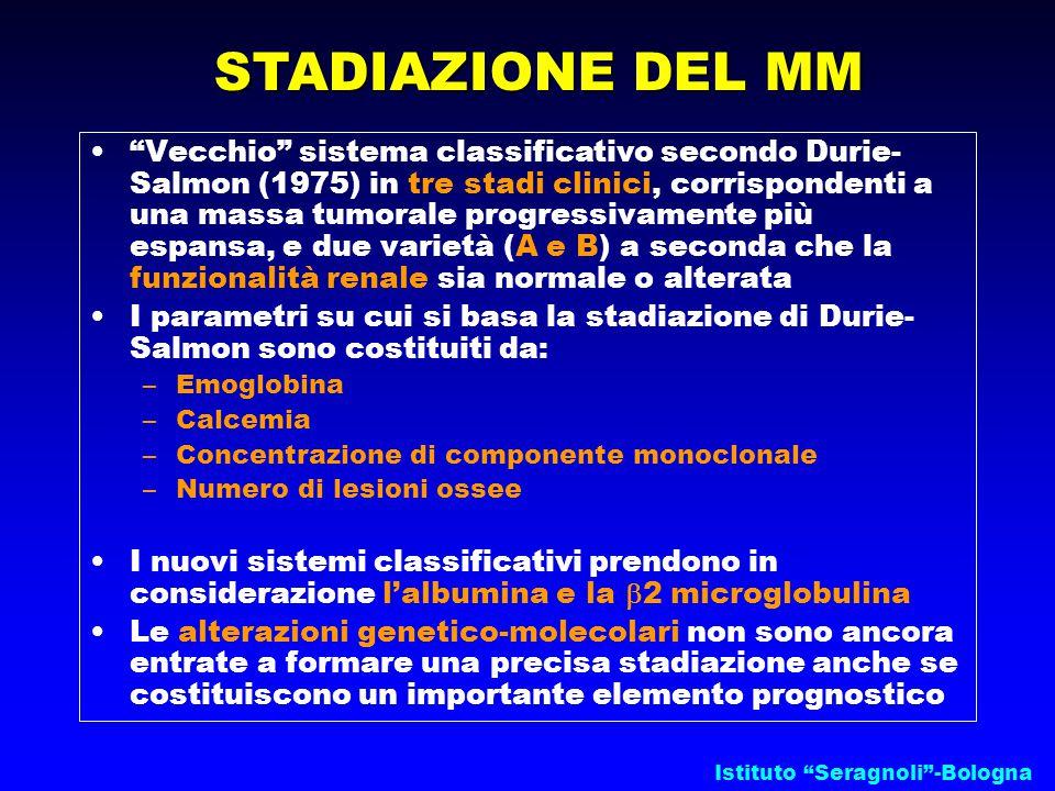 """Istituto """"Seragnoli""""-Bologna STADIAZIONE DEL MM """"Vecchio"""" sistema classificativo secondo Durie- Salmon (1975) in tre stadi clinici, corrispondenti a u"""