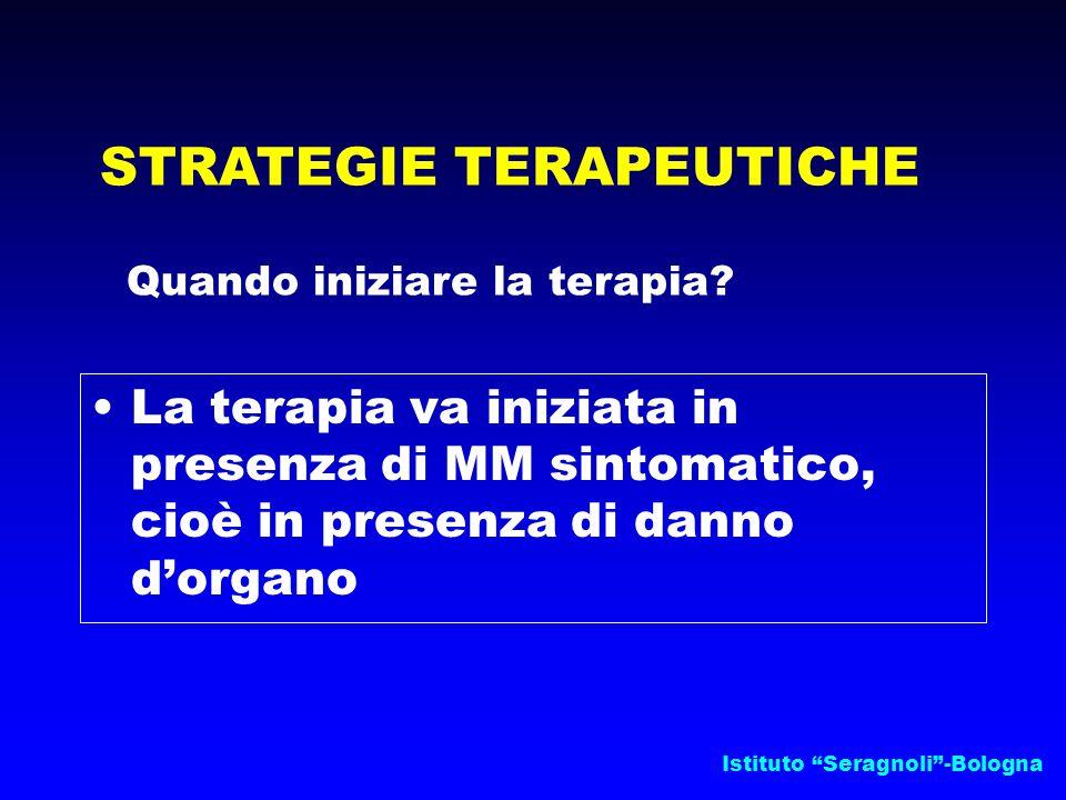 """Istituto """"Seragnoli""""-Bologna STRATEGIE TERAPEUTICHE Quando iniziare la terapia? La terapia va iniziata in presenza di MM sintomatico, cioè in presenza"""