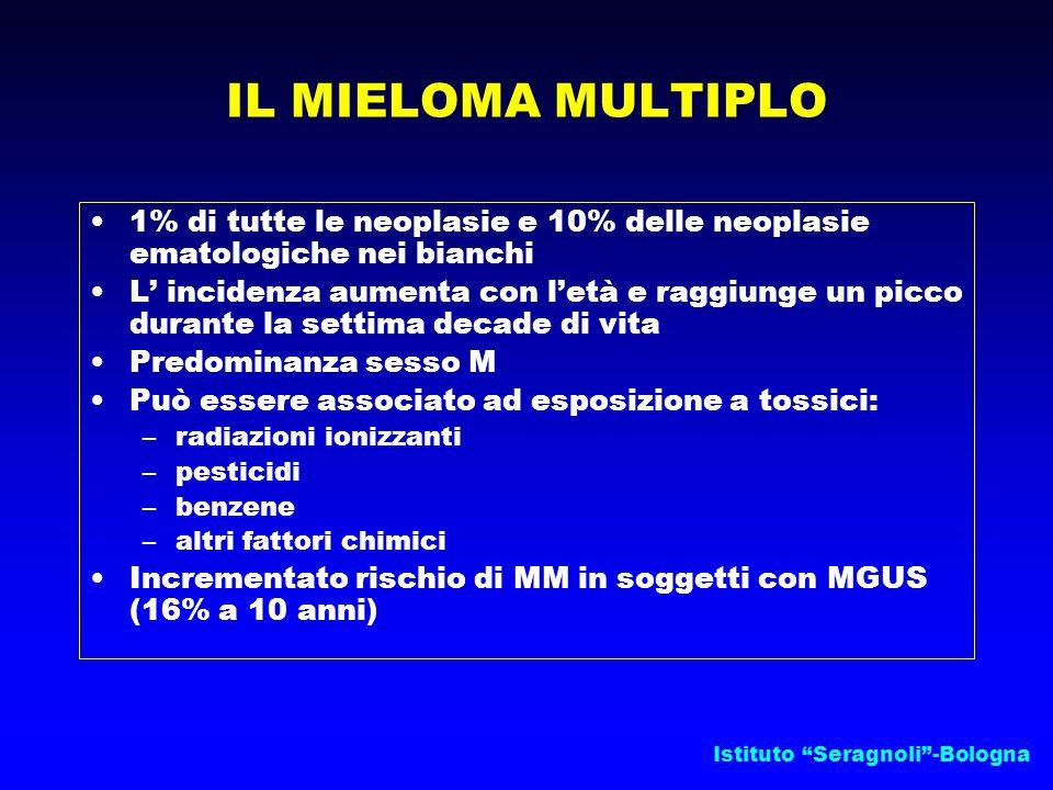 """Istituto """"Seragnoli""""-Bologna IL MIELOMA MULTIPLO 1% di tutte le neoplasie e 10% delle neoplasie ematologiche nei bianchi L' incidenza aumenta con l'et"""