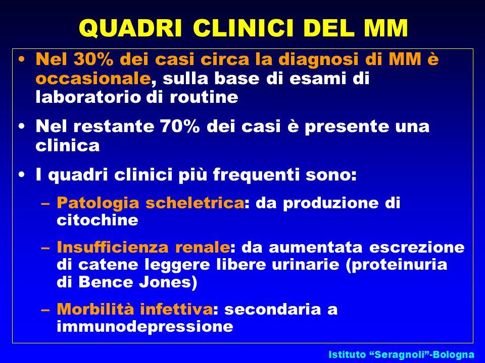 Nel 30% dei casi circa la diagnosi di MM è occasionale, sulla base di esami di laboratorio di routine Nel restante 70% dei casi è presente una clinica