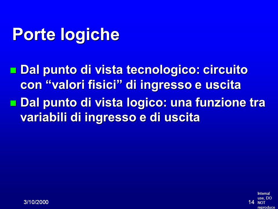 """Internal use, DO NOT reproduce 3/10/200014 Porte logiche n Dal punto di vista tecnologico: circuito con """"valori fisici"""" di ingresso e uscita n Dal pun"""