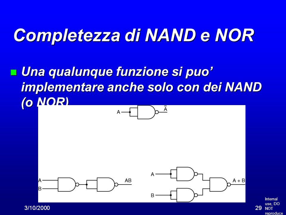 Internal use, DO NOT reproduce 3/10/200029 Completezza di NAND e NOR n Una qualunque funzione si puo' implementare anche solo con dei NAND (o NOR)