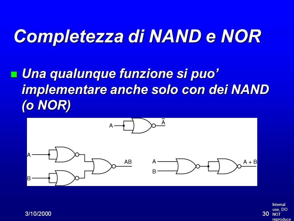 Internal use, DO NOT reproduce 3/10/200030 Completezza di NAND e NOR n Una qualunque funzione si puo' implementare anche solo con dei NAND (o NOR)
