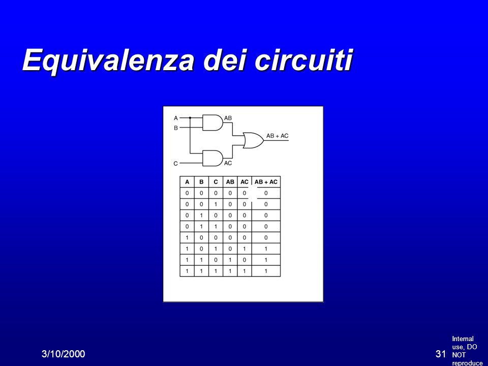 Internal use, DO NOT reproduce 3/10/200031 Equivalenza dei circuiti