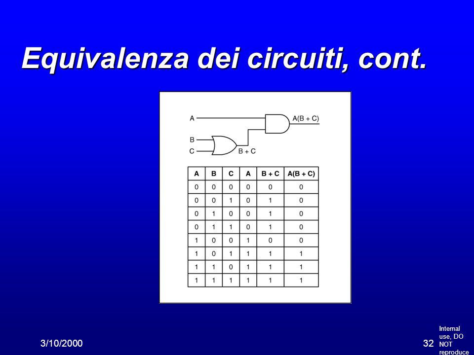Internal use, DO NOT reproduce 3/10/200032 Equivalenza dei circuiti, cont.