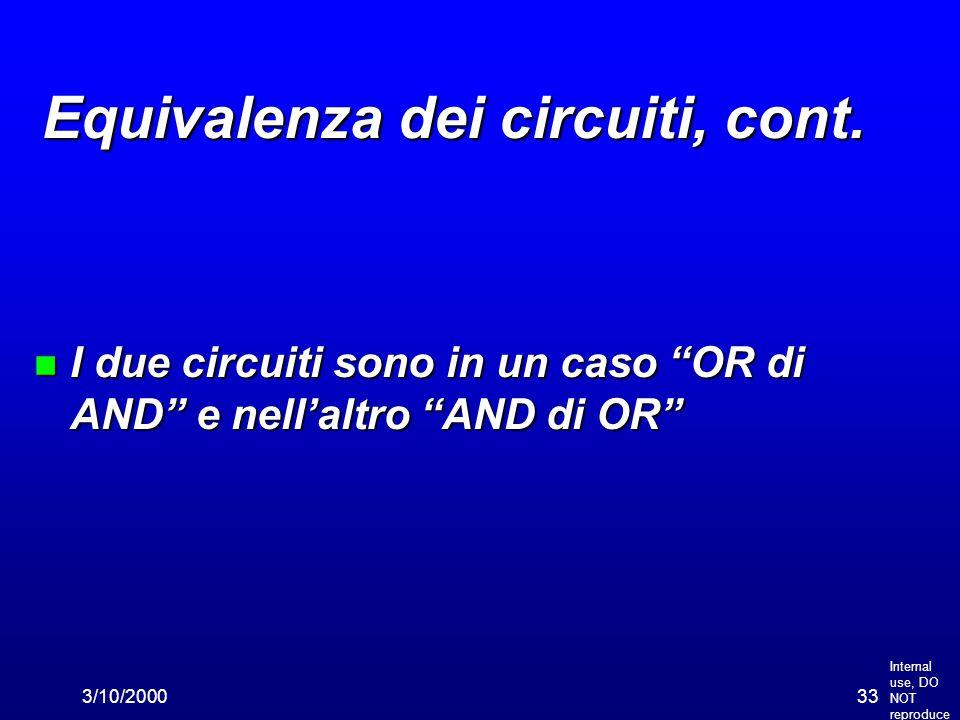 """Internal use, DO NOT reproduce 3/10/200033 Equivalenza dei circuiti, cont. n I due circuiti sono in un caso """"OR di AND"""" e nell'altro """"AND di OR"""""""